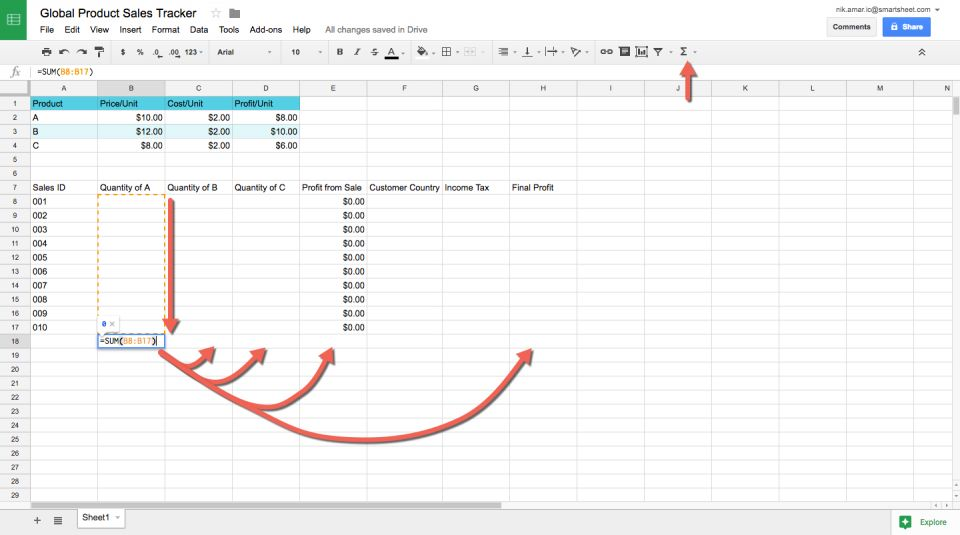 sales tracker spreadsheet