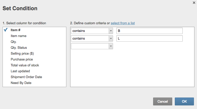 Set condition custom criteria Smartsheet