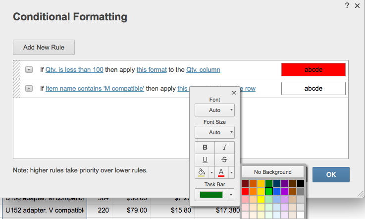 Conditional formatting choose color