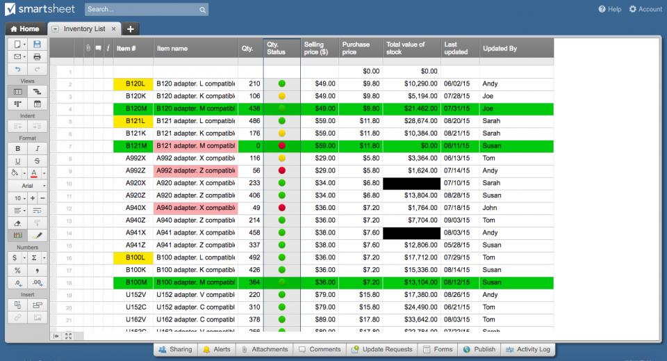 Quantity status column Smartsheet