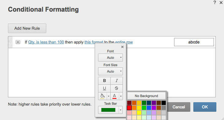 Conditional formatting background color Smartsheet