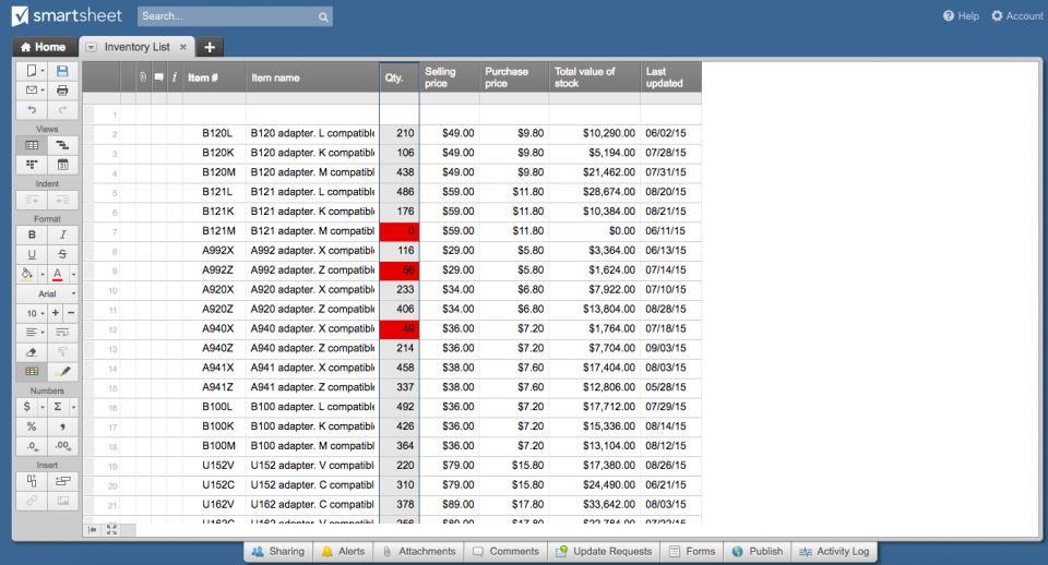 Conditional formatting highlight Smartsheet