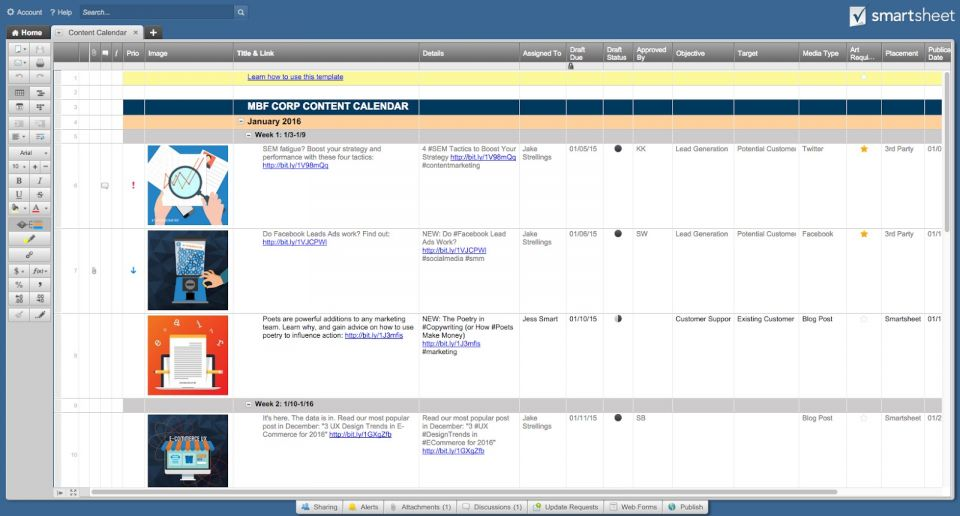 social media content calendar templates