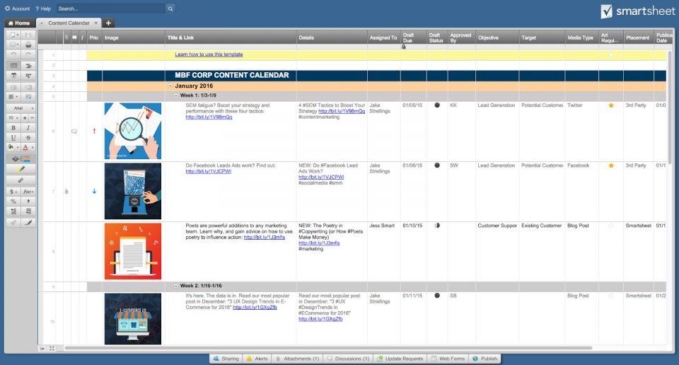 Free Social Media Calendar Templates Smartsheet - Social media post calendar template