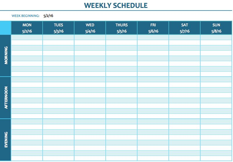 free weekly schedule templates for excel