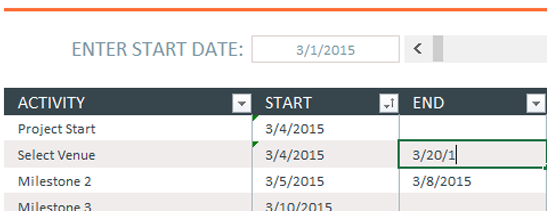 Add dates to Excel timeline template