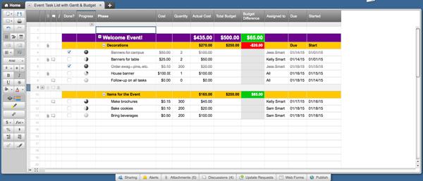 Smartsheet event template