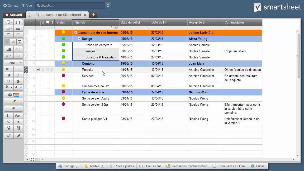 Établir des hierarchies dans Smartsheet