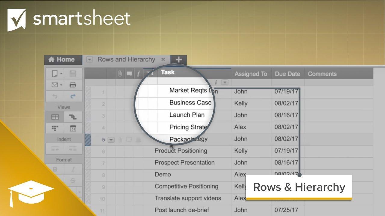 Rows & Hierarchy in Smartsheet