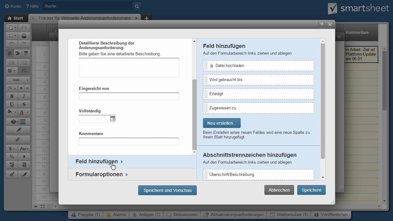 Webformulare in Smartsheet