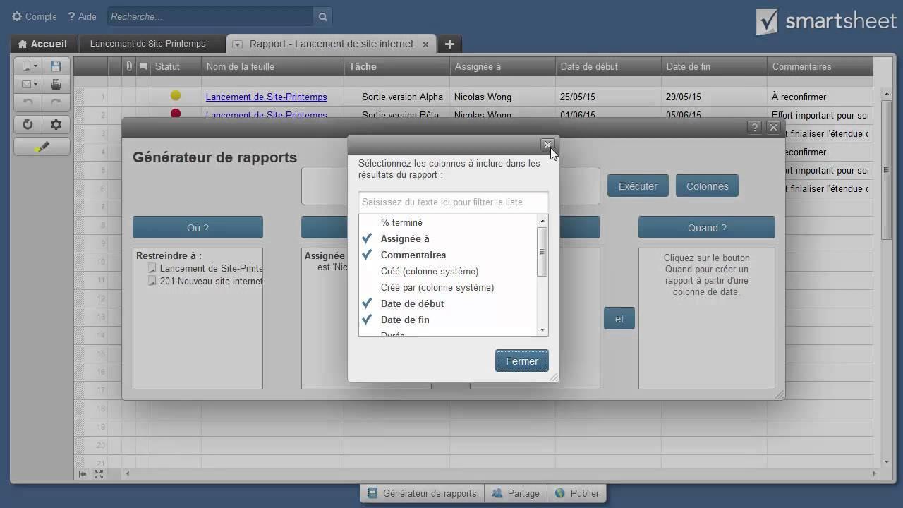 Créer un rapport dans Smartsheet