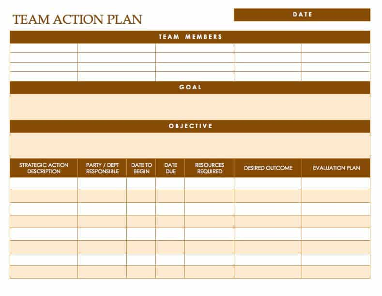 Team Action Plan  Example Action Plan Template