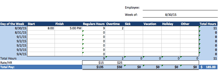 time sheet template excel