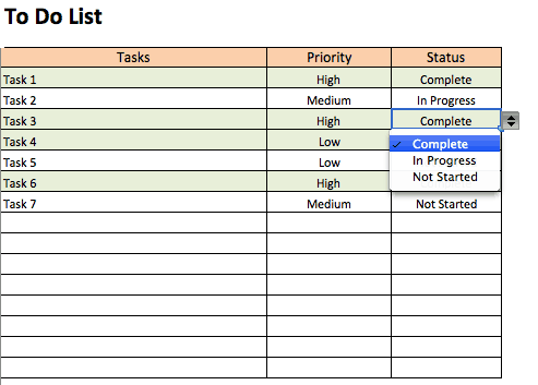 To Do List With Drop Downs Template  Contact List Excel Template