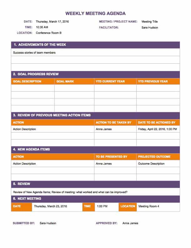 Free Weekly Schedule Templates For Excel Smartsheet – Weekly Meeting Agenda Template