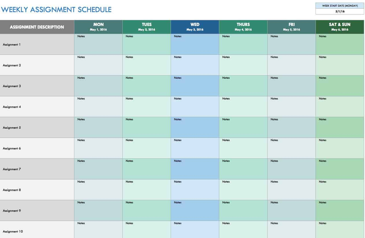 weekly schedule templates for excel smartsheet weekly assignment schedule template