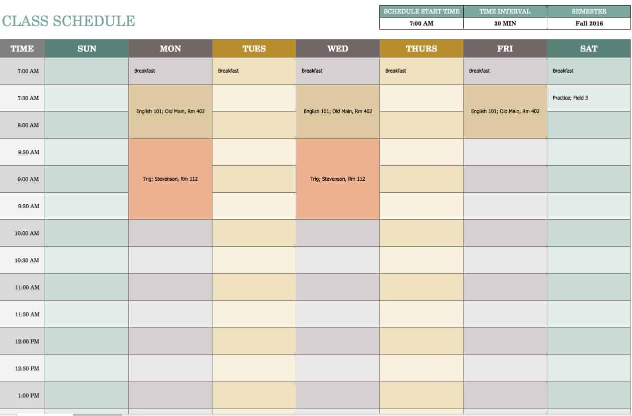 Free weekly schedule templates for excel smartsheet for College school schedule template