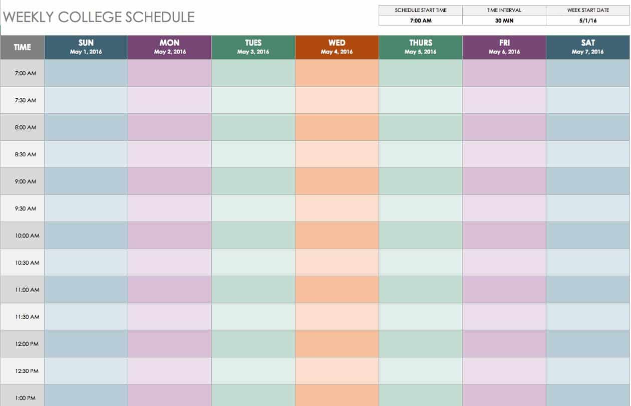 weekly college schedule templatejpg