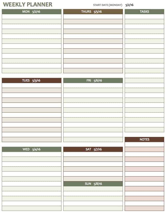 Free Weekly Schedule Templates For Excel Smartsheet – Free Printable Weekly Planner