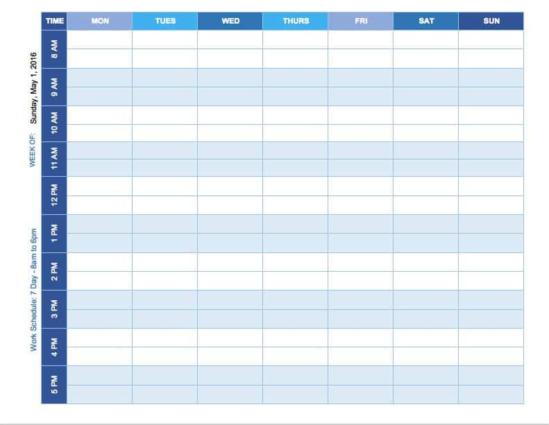 Time Study Template. Weekly Schedule Mon - Sun Template Free