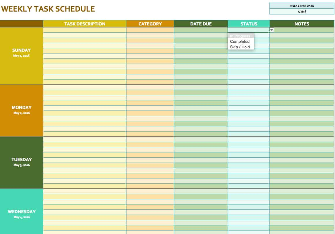 Free weekly schedule templates for excel smartsheet for Monthly task list template excel