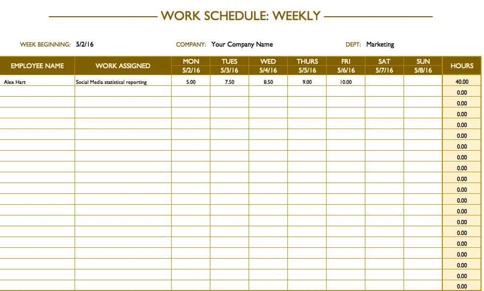 Free Work Schedule Templates for Word and Excel – Hourly Schedule Template