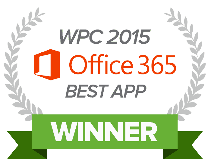 2015 Winner Best Microsoft Office 365 App