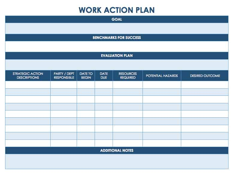 Work Plan  Daily Action Plan Template