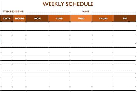 Template For Timetable 5 Day Printable Editable Blank – Word Timetable Template