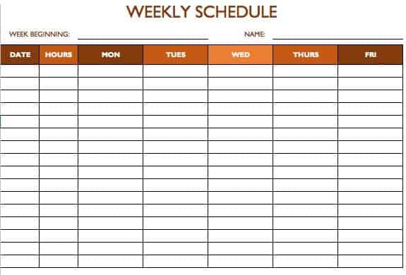 Template For Timetable 5 Day Printable Editable Blank – Word Timetable Template