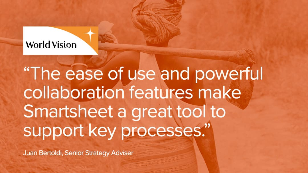 World Vision's use of Smartsheet's collaboration features