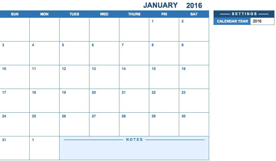 Is a full year calendar so you get 12 months in one free template